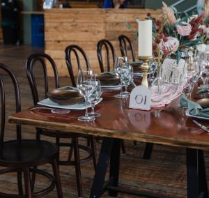 Dark Wood Banquet Tables