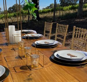 Light Wood Banquet Tables